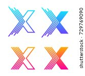 letter x colorful logotype with ... | Shutterstock .eps vector #729769090