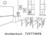 classroom graphic black white... | Shutterstock .eps vector #729774898