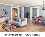 modern apartment. scandinavian...   Shutterstock . vector #729775888
