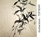 Chinese ink painting of bamboo on old grunge art paper. - stock photo