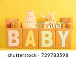 composition with gifts and cake ... | Shutterstock . vector #729783598