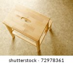 beech wood board step stool - stock photo