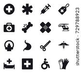 16 vector icon set   hospital ... | Shutterstock .eps vector #729788923