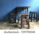antique oldie wooden table and... | Shutterstock . vector #729790540