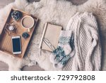mug with coffee  smart phone... | Shutterstock . vector #729792808