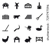 16 vector icon set   barn ... | Shutterstock .eps vector #729797596