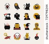 halloween cartoon icon set....   Shutterstock .eps vector #729798244