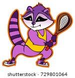 cute raccoon  holding tennis... | Shutterstock .eps vector #729801064