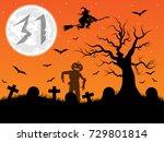 halloween background.cemetery...   Shutterstock . vector #729801814