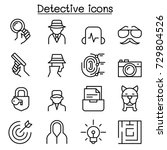 detective icon set in thin line ... | Shutterstock .eps vector #729804526