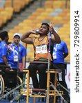 Small photo of KUALA LUMPUR, MALAYSIA 22 SEPTEMBER 2017: Shot Put ASEAN Para athletes perform at the 9th PARA ASEAN Games 2017 at the Atlantic Stadium Bukit Jalil, Kuala Lumpur.