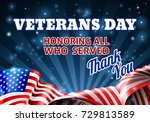 a veterans day background with... | Shutterstock . vector #729813589