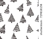seamless christmas pattern with ... | Shutterstock .eps vector #729818158