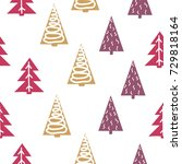 seamless christmas pattern with ... | Shutterstock .eps vector #729818164