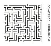 black and white maze pattern | Shutterstock .eps vector #729819400