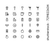 minimal icon set of food and...