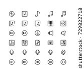 minimal icon set of music and...