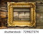 big old gold picture frame on... | Shutterstock . vector #729827374