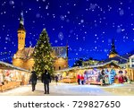 christmas in tallinn. holiday... | Shutterstock . vector #729827650