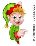 a cute cartoon christmas elf... | Shutterstock . vector #729837223
