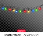 realistic color christmas light.... | Shutterstock .eps vector #729840214