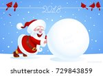 santa claus pushes a huge... | Shutterstock .eps vector #729843859