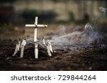 grave of bad habit. anti... | Shutterstock . vector #729844264