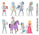 knight cartoon hero character... | Shutterstock .eps vector #729851434
