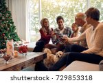 happy family toasting with wine ... | Shutterstock . vector #729853318