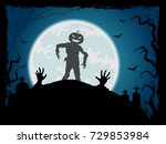 halloween background with... | Shutterstock . vector #729853984