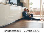 young man and woman sitting on... | Shutterstock . vector #729856273