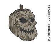 pumpkin halloween skull | Shutterstock .eps vector #729859168