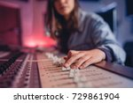 woman hands mixing audio in... | Shutterstock . vector #729861904