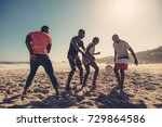 young friends playing football... | Shutterstock . vector #729864586