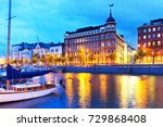 scenic summer evening panorama... | Shutterstock . vector #729868408