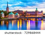 scenic evening panorama of the... | Shutterstock . vector #729868444