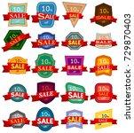 set of twenty discount stickers.... | Shutterstock . vector #729870403
