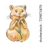 watercolor hamster eating corn  ... | Shutterstock . vector #729871870