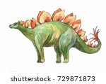 stegosaurus. watercolor... | Shutterstock . vector #729871873