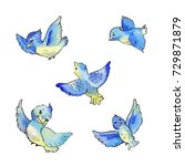set of flying blue birds... | Shutterstock . vector #729871879