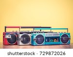 retro outdated red portable... | Shutterstock . vector #729872026