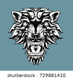 head of roaring wolf. vector... | Shutterstock .eps vector #729881410