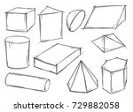 set of various sketchy 3d... | Shutterstock .eps vector #729882058