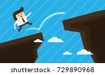 businessman jump over the cliff.... | Shutterstock .eps vector #729890968