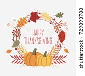 colorful thanksgiving greeting... | Shutterstock .eps vector #729893788
