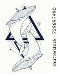 two whales tattoo geometric... | Shutterstock .eps vector #729897490