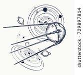sputnik tattoo. space ship... | Shutterstock .eps vector #729897814