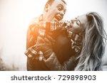 young beautiful couple having... | Shutterstock . vector #729898903