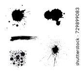 vector black paint brush spots. ... | Shutterstock .eps vector #729899083