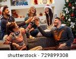 group of friends having fun on... | Shutterstock . vector #729899308